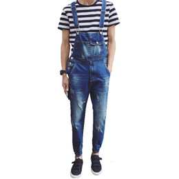 Wholesale Stripe Pocket Jeans - Wholesale-Men's casual pocket light blue denim overalls Slim jumpsuits Ankle banded pants Ripped jeans for man high quality