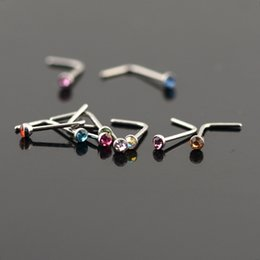 Wholesale Wholesalers Steel Studs - 50Pcs Women Stainless Steel Nose Studs Rings L Shaped Stainless Steel Crystal Nose Septum Piercing Body Jewelry 20g
