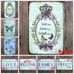 Signo de mariposas online-Esteticismo Antiguo 20 * 30 cm Metal Carteles de chapa Mariposa Corona Flores Sello Hierro Patrón de diseño Diseño Cartel de lata Vida Amor Risa 3 99rjG