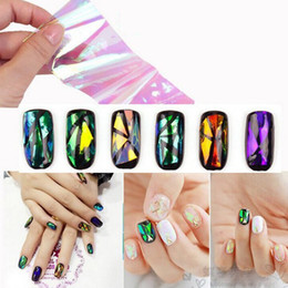 Wholesale Nails Sheet - 200 sheets Nail Sticker Broken Glass Water Decals Mirror Effect For Nails Art Fancy Punk Galaxy Transfer Nail Foils