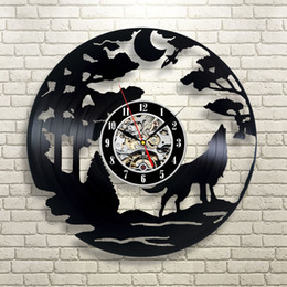 Wholesale Men Wall Decor - Wolf Gift Vinyl Record Designed Wall Clock-Decorate Your Home With Decor Vintage Art-Best Gift For Friend, Man And Boy-Fashion And Beautiful