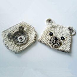 Wholesale Teddy Bear Winter - Newborn Teddy Bear Costume,Handmade Knit Crochet Baby Boy Girl Animal Bear Beanie Hat,Diaper Cover Set,Toddler Infant Photography Prop