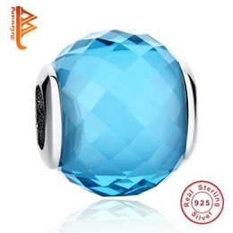 Wholesale Charming Sparkles Jewelry - BELAWANG 925 Sterling Silver Sparkling Crystal Charms Blue Glass Beads Fit Pandora Charm Bracelets&Bangles for Women Unisex DIY Jewelry Gift