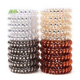 Wholesale Metal Rubber Band Hair - New Arrived 40pcs 4.5 cm Metal Punk Telephone Wire Coil Gum Elastic Band Girls Hair Tie Rubber Pony Tail Holder Bracelet Stretchy Scrunchies