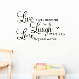 Wholesale Live Laugh Love Wall - live laugh love quotes wall decals zooyoo1002 home decorations adesivo de paredes removable diy wall stickers