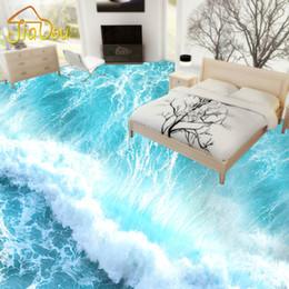 Wholesale Soundproof Floor - Wholesale-Custom Photo Wallpaper 3D Sea Waves Bathroom Mural Self-adhesive PVC Floor Stickers Waterproof Slip Living Room Floor Wallpaper