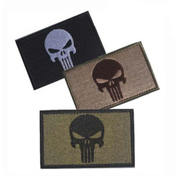 Wholesale Skulls Stickers - Punisher Skull USA Army US Military Tactical Badges Embroidered Patches Stickers