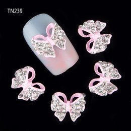 Wholesale glitter butterflies decorations - rhinestone 3d 10pcs Glitter Butterfly Rhinestones 3d Art Decorations, Alloy Nail Sticker Charms Jewelry for Nail Gel Polish Tools TN239