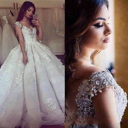 Wholesale Taffeta Empire Wedding Dress Pink - Amazing Cathedra Train A Line Wedding Dresses 2017 V Neck with Rhinestones Shiny Crystal Backless Luxury Train Vestido De Novia Bridal Gowns