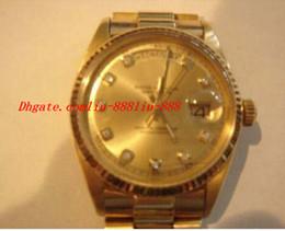 oro 18k macizo para hombre. Rebajas Reloj de pulsera de lujo para hombre sólido 18k Reloj de oro amarillo Champagne Diamond Hombre Relojes Reloj para hombre de calidad superior