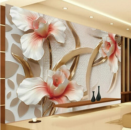 Wholesale Fabric Photo Paper - Wholesale-Custom 3d photo wallpaper 3D relief Lily stylish minimalist modern European large wall mural Home Decor