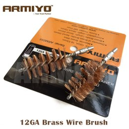 Wholesale shotgun 12 - Armiyo 12GA 12 Gauge 18.5mm Hunting Shotgun Bronze Wire Gun Barrel Cleaning Brush Screw Thread Size 8-32