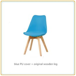 Wholesale Restaurant Furniture Chairs - Wedding Party Chairs Restaurant Chairs Hotel Chairs Café Chairs Home Furniture with Blue PU Cover and Original Wooden Legs