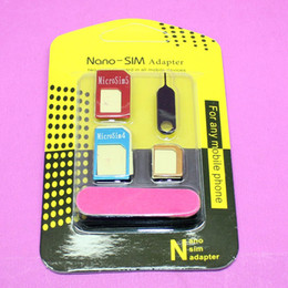 Wholesale Tool For Micro Sim - High Quality 5 in 1 Nano Sim Card Adapters+Micro Sim Card SIM Card & Tools For Iphone 4g 5g 6g With Retail Box