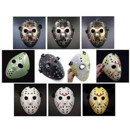 Wholesale Vintage Halloween Masks - Gold Vintage Party Masks Dedicated Jason Voorhees Freddy Hockey Festival Halloween Masquerade Mask Free Shipping 170908