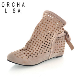 Wholesale Summer Sandals Short Heels - Wholesale-Fashion women's cut-outs Boots Spring  Summer short Boots Inside High -heeled Shoes large size 35-43casual Sandals shoes women