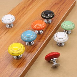 Wholesale Handles For Kitchen Doors - New Vintage Furniture Handle Kitchen Pull Handle Ceramic Door Round Knobs Cabinet Knobs and Handles for Furniture Drawer Cupboard