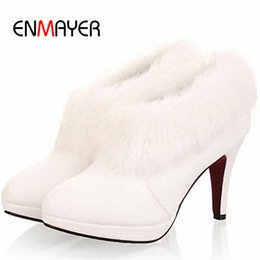 Wholesale White Boots Fur Wedding - Wholesale-ENMAYER Big Size 34-43 White Fur Boots Fashion Snow Boots Winter Women's High Heel Wedding Shoes Ankle Boots New Arrival