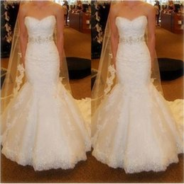 Wholesale Trumpet Corset Wedding Dresses Lace - 2017 Sexy Beaded Lace Mermaid Wedding Dresses with Lace up Sweetheart Neck Sequin White Tulle Corset Bridal Gowns