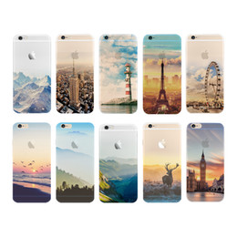 Wholesale Apple Tower Case - For Apple iphone 6 6S plus iphone 7 plus SE silicone case landscape Plating TPU cell phone cases Elizabeth Tower Big Ben Eiffel