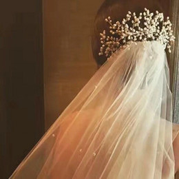 Wholesale Ivory Pearl Sets - Newest Design Four Pieces Ivory Pearls Bride Headpieces and Veils Two Layers Romantic Wedding Veil with Comb Bridal Accessoies Sets 2017