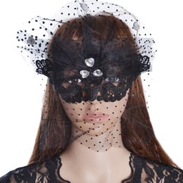 Wholesale Rhinestone Eye Mask - Black Lace Mask Women's Flower Party Masquerade Full Eyemask With Clear Rhinestone For Halloween Costume Party Ball Prom Cat Eye Mask