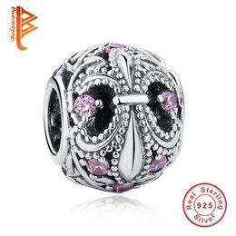 Braccialetto d'argento antico online-BELAWANG Ancient Mystery Charm Beads 925 Sterling Silver rosa Cubic Zirconia Beads Jewelry Accessori Fit Pandora Charm Bracelet Making