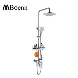 Wholesale Faucet Showerhead - Bathroom Brass Rainfall Showerhead Set Misty Handled Shower+Shelf And Bidet Spray Gun+Hot And Cold Shower Faucets