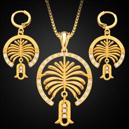 Wholesale Diamond Jewelery - New Middle East Jewelry 18K Gold Jewelery Set Dubai Palm Island Diamond Lady Necklace Earrings 2pcs Set Jewelery Wholesale