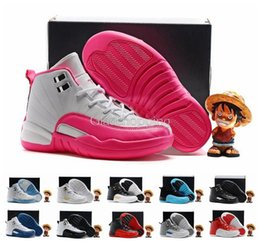 Wholesale Yellow Kids Sneakers - New Retro 12 XII French Blue Pink Master OVO Kids Basketball Shoes Girl Boy 12s High Quality Sport Shoes Youth Basketball Sneakers 28-35