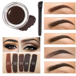 Wholesale Eyebrow Pigment Kit - Professional Eye Brow Tint Makeup Tool Kit Waterproof High Brow 5 Color Pigment Black Brown Henna Eyebrow Gel With Brow Brush