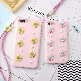 Wholesale Iphone Cases Pearls - Lovely 3D Sunflower Soft Cover Case For iPhone 7 7 Plus Case Pearl TPU Cases Coque For iPhone7 7 Plus 6 6S Plus 6Plus