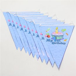 Wholesale Banner Settings - Wholesale- 1 set boy 1st birthday banners theme party paper flags colours baby boy favor birthday party decoration party supplies