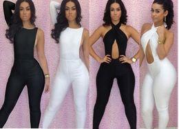 Wholesale Bodywear Women - New Fashion Sexy Women's Bodycon Bodysuit with Halter Twist Bra Bodywear Jumpsuits Sleeveless Backless Party Women jumpsuits Clothes 1366 7