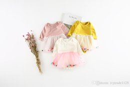 Wholesale Colorful Rompers - INS new arrivals fall baby kid climbing romper 100% cotton round mesh patchwork romper girl kids fall colorful ball rompers 0-2T