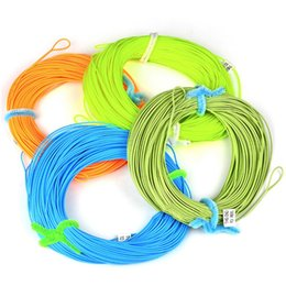 Wholesale River Fly - 100FT Weight Forward Floating Fly Fishing Line WF-2F 3F 4F 5F 6F 7F 8F Fly Line Moss Green Orange Fluo Yellow Color