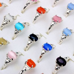 Wholesale cat eye rings wholesale - Rings Jewelry Charm Lots Natural Cat eye stone gemstone Silver P Ring Fashion 50pcs Not Include Box