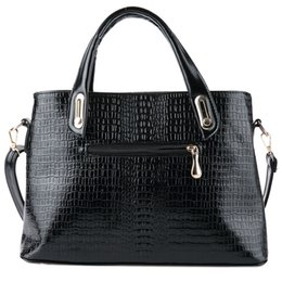 Wholesale Female Crocodiles - Black Women Handbag Female Shoulder Messenger Bag Ladies Crocodile Artificial PU Leather Crossbody Bag Women Big Bags