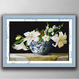 Wholesale Lily Canvas Paintings - Perfume lily flowers home decor painting , Handmade Cross Stitch Embroidery Needlework sets counted print on canvas DMC 14CT  11C