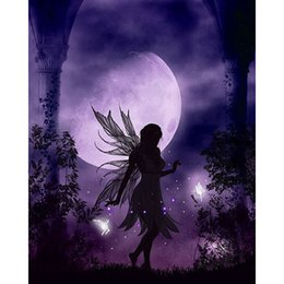 Wholesale Angels Home Decor - DIY Diamond Painting Embroidery 5D Purple Moon Angel Pattern Cross Stitch Crystal Square Unfinish Home Bedroom Wall Art Decor Craft Gift