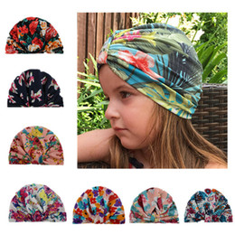 Wholesale Head Covers Beanies - 2018 New Fashion Baby Floral Printed Caps Soft Cotton Indian Ears Cover Hats Child Girls Boys Turban Knot Head Wraps Infant Kids Beanie A190