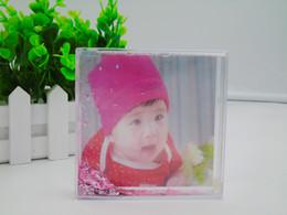 Wholesale Wholesale Picture Frames Stands - Good Quality Tops Square Liquid Photo Standing Acrylic Picture Frame Background Craft Kids 72pcs Carton Drop Shipping