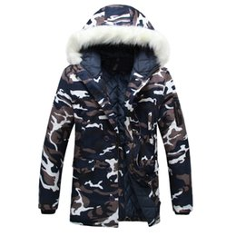 Wholesale Wadded White Jacket Men - Wholesale- 2017 New Winter parka men Thicken Lovers wadded jacket Camouflage large fur collar cotton-padded jacket outerwear coats 3XL 531