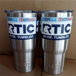 Wholesale Double Wall Bottle - Stainless Steel Cup Travel Mug Car Cooler Double Wall Vacuum Tumbler Cup Thermal Insulated Cups Drink Water Bottle High Copy RTIC 20oz F549