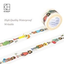 Wholesale Deco Labels - Wholesale- 2016 Kinbor Japanese Washi Tape Cartoon Fashion Girl DIY Deco Adhesive Tape Waterproof Writable Durable Masking Tapes Label Sti