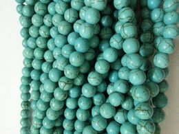 Wholesale Turquoise Oval Beads - wholesale 8mm link blue Turkey Turquoise Gems Round Loose Bead total 500pcs