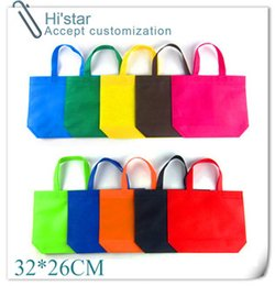 Wholesale custom printed shopping bags wholesale - Wholesale- 32*26cm 20pcs lot Dark pink plaid pattern shopping bags dark pink plain non woven bag with bottom can printed with custom logo