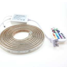 Wholesale Multicolor Led Lighting Strips - Addressable 50m 45m RGB LED Strip Lights 220V Waterproof Ruban SMD 5050 + 24Keys IR Remote Controller EU Plug MultiColor Changing 20m 10m 5m