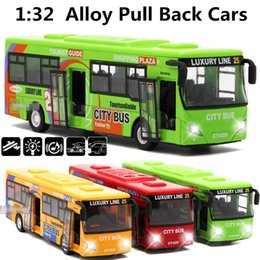 Wholesale City Bus Toy Car - 1:32 alloy car models,high simulation city bus , metal diecasts, toy vehicles, pull back & flashing & musical,