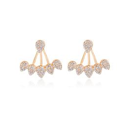 Wholesale Wholesale Earring Jacket - Crystal Tear Drops Earrings Ear Jackets Gold Silver Rhinestones Water droplets Earrings Women Sister Fashion Modern Jewelry